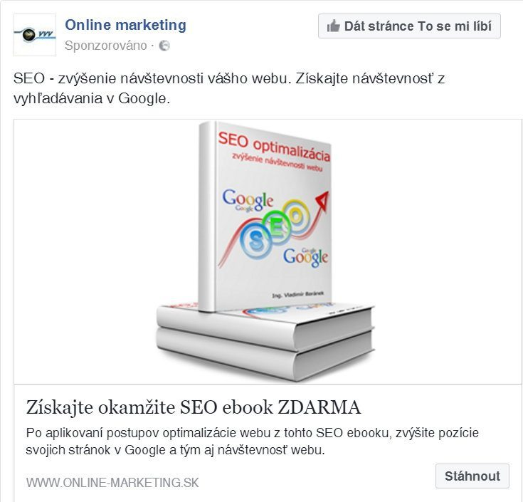 facebook reklama - ukážka